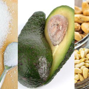 sokeria, avokadoa ja pähkinää