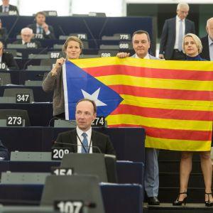 Kansallismielisten ryhmien europarlamentaarikot osoittivat mieltään Katalonian puolesta Euroopan parlamentissa.