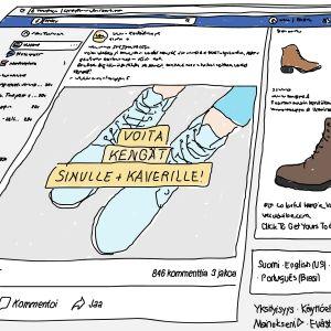 Facebook-sivulla kenkämainoksia