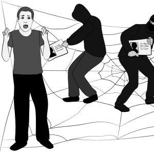 Piirroskuva, jossa hämärämiehet varastavat mieheltä ajokortin.