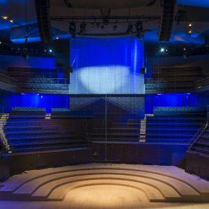 Musiikkitalossa uruille on paikka ylhäällä lavan takana.