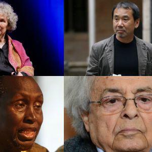 Bildcollage på Margaret Atwood, Ngugi Wa Thiong'o, Haruki Murakami och Adonis