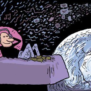 Henkilö makaa sängyllä avaruudessa ja kuuntelee musiikkia.