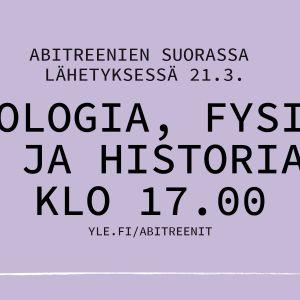 Abitreenien suorassa lähetyksessä 21.3. psykologia, fysiikka ja historia klo 17.00