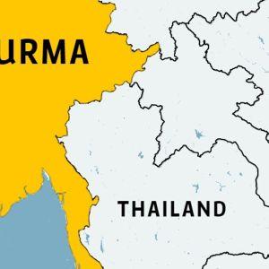 Karta över grånsområdet mellan Thailand och Burma