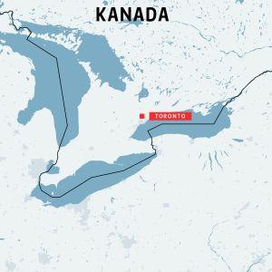 Karta över Kanada med Toronto utmärkt där en skåpbil körde över nästan ett dussin fotgängare.