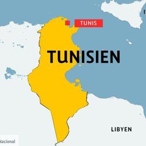 Karta över Tunisien.