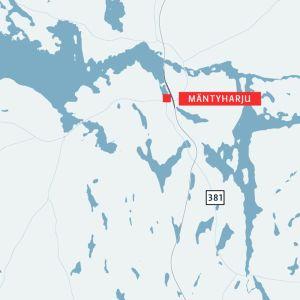Karta över orten Mäntyharju i Södra Savolax