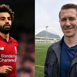 Jalkapalloilija Mohamed Salah (Liverpool) ja Pelipäivä-sarjan vetäjä, näyttelijä Jussi Vatanen.