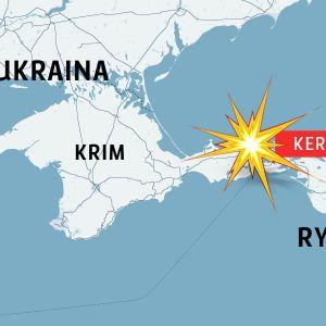 Karta över Krim och staden Kertj.