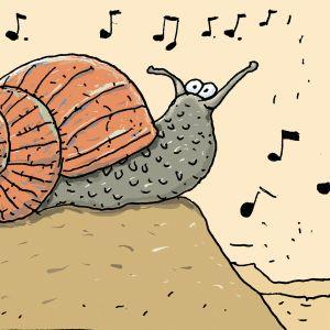 Piirros, jossa etana kuuntelee musiikkia