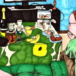 Lotta Green har tecknat sig själv vid tv, med en hund drickandes glögg