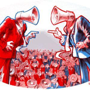 Teckning som symboliserar kriget mellan två åsikter.