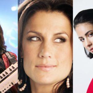 Kollage med tre bilder. En med en man som spelar ett instrument, en med en kvinna som blickar uppåt och en med en kvinna som tittar under lugg.