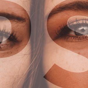 Kahdet kasvot vierekkäin lähikuvassa rajattuna silmiin.