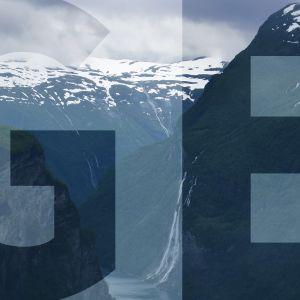 """vuoristomaisema ja päällä teksti """"GE"""""""