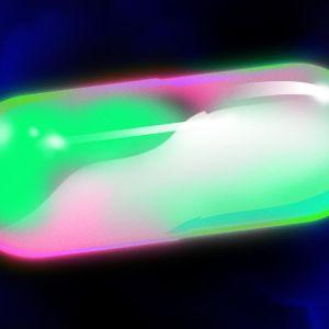 Futuristiskt piller, illustration. Psykedeliska färger