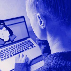Kuvassa nuori ihminen kannettavalla tietokoneella. Ruudussa näkyy Linuxin pingviinilogoa. Kuvassa tekstit: Linux, Digitreenit ja Yle.fi/oppiminen.