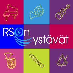 RSO:n Ystäväyhdistyksen visuaalinen ilme, jossa eri värisiä neliöitä, joissa soittimia kuvattuna