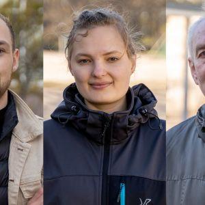 tre kommunalvalskandidater