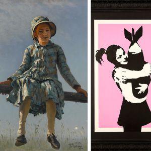 Repin: Pyryharakka, Banksy: Bomb hugger ja Dylan: Woman with Scarf.