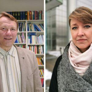 Oikeustieteen professori Asko Uoti ja hallintotieteiden tohtori Jenni Airaksinen seisovat ja katsovat kameraan.