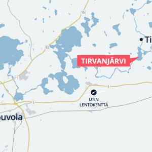 Tirvanjärvi kartalla, lähellä Kouvolaa.