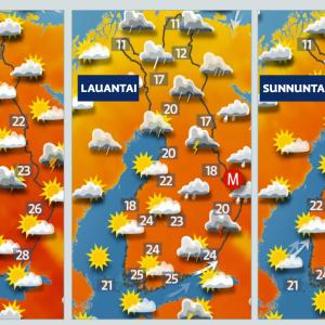 Sääkartta: Juhannuksen sääennuste. Laadittu 20.6.2021