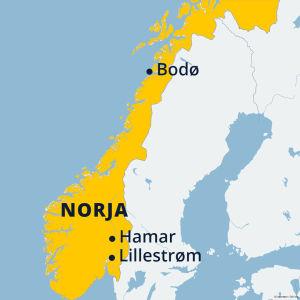 Norjan kartta, jossa Bodø, Lillestrøm ja Hamar.
