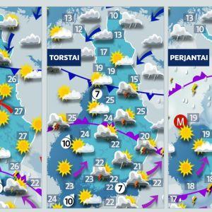 kolmen päivän sääennustekartta.