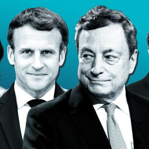 Kuvakollaasissa keskellä Emmanuel Macron ja Mario Draghi, taaempana sivuilla Annalena Baerbock ja Armin Laschet.