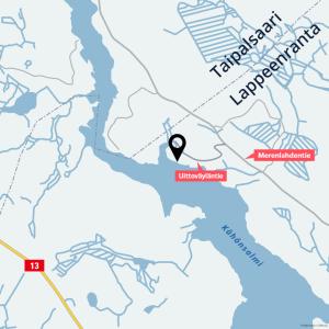 Kartassa on merkitty tonttien sijainti pienessä niemessä Saimaan rannalla.