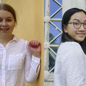 Kuvassa kaksi nuorta opiskelijaa.