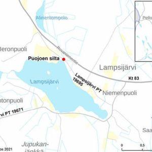 Kartta Puojoen siltapaikasta ja urakan aikaisista kiertoteistä.