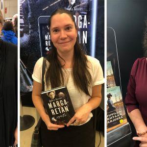 Kirjailijat Kristiina vuori, Jenna Kostet ja Ann-Christin Antell