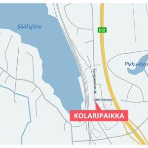 Karttagrafiikka Tampereentien ja Vikkiniityntien kolaripaikasta