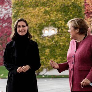 Sanna Marin ja ANgela Merkel.