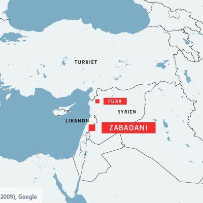 Karta över Syrien, Turkiet och Libanon.