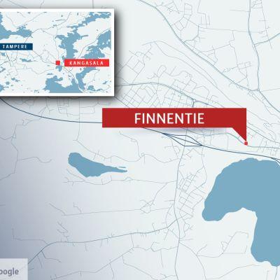 Onnettomuus sattui Kangasalan Finnentiellä