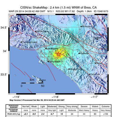 Maaliskuun 29. päivä julkaistu kartta Kaliforniassa tapahtuneesta maanjäristyksestä.
