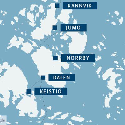 En karta över Iniö