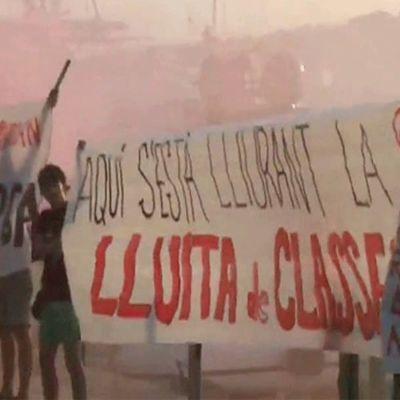 Protester mot turism i Barcelona