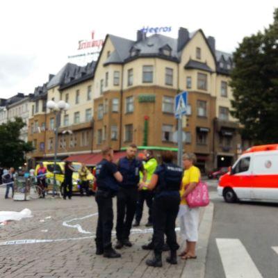 Polispådrag i Åbo centrum.