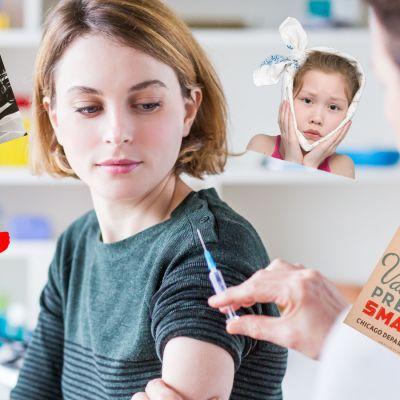En kvinna som ska få en spruta av en läkare. Runt henne bild av Franklin D. Roosevelt, en kampanj för vaccinering mot smittkoppor, en lite flicka med en duk knyten ren huvudet och en ritad röd hund.