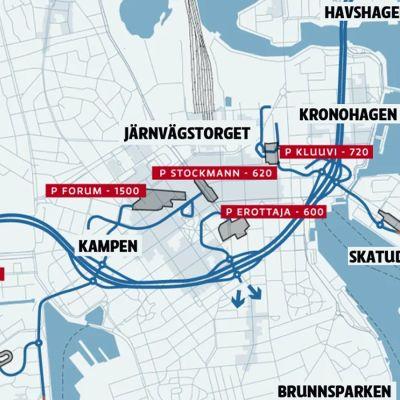 Lemminkäinens förslag till centrumtunnel i Helsingfors.