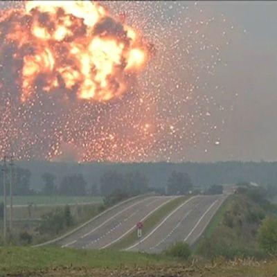 Explosion i ammunitionslager i Ukraina 26.9.2017.