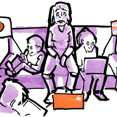 Vanhempi istuu sohvalla ihmetellen, kun lapset ympärillä käyttävät ruutuja, joissa näkyvät Japanin, Englannin ja Kiinan liput..