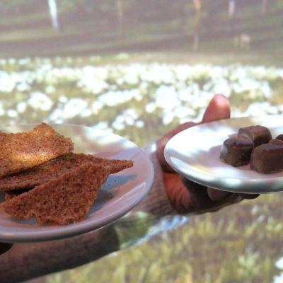 Ruisnachoja ja suklaata lautasilla kauniin maiseman edessä