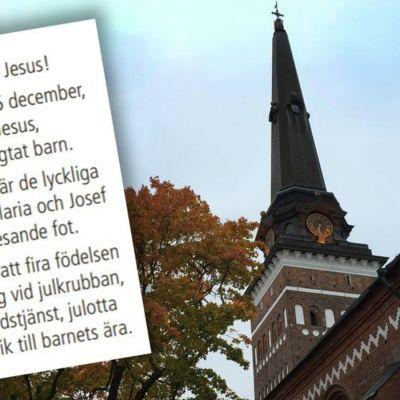 """Kyrkan i Västerås annonserar om Jesus med beteckningen """"hen"""""""