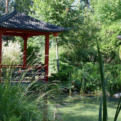 Punainen, kiinalaistyyppinen paviljonki lammen rannalla puutarhassa